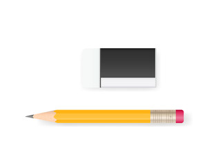 Eraser and pencil on white background with soft shadow. Vector.