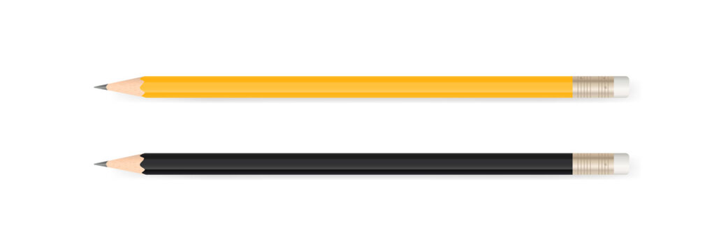 Yellow pencil and black pencil on white background with soft shadow. Vector.