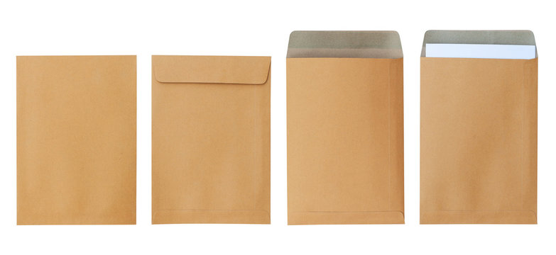 Brown envelope front and back isolated on white background. Letter top view. Object with clipping path