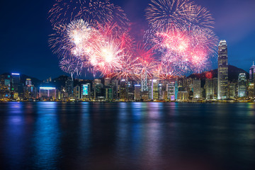 Wall Mural - Firework show  in Hong Kong Victoria Harbor