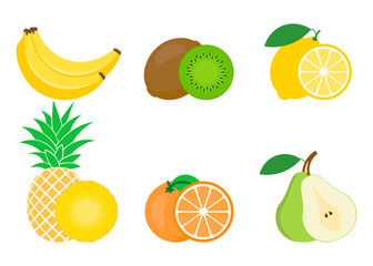 Set of colorful fruits icon: orange, pear, banana, lemon, pineapple, Kiwi. Vector illustration isolated on white.