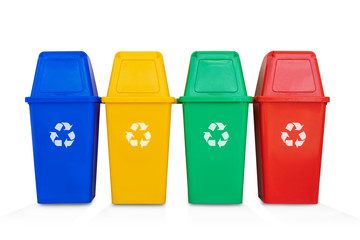 four colorful recycle bins isolated on a white background