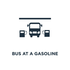 Bus at a gasoline station icon. Black filled vector illustration. Bus at a gasoline station symbol on white background.