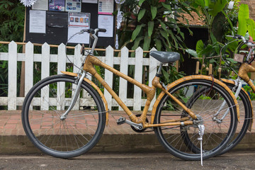 Deurstickers Fiets Bamboo bikes, bicycle parts are made of bamboo