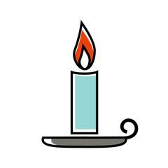 Candle halloween icon vector illustration on orange background