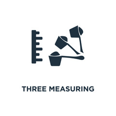 Three Measuring Spoons icon. Black filled vector illustration. Three Measuring Spoons symbol on white background.