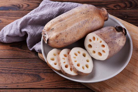 Lotus root on a plate, fresh