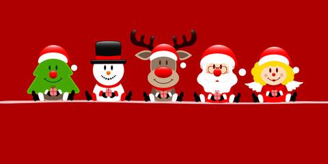 Tree, Snowman, Rudolph, Santa & Angel Gift Red Banner