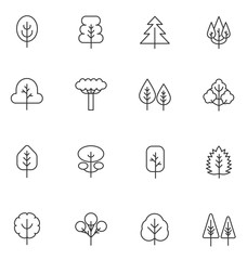 Tree thin line vector icons set. Vector Collection of outline stroke plants and trees.