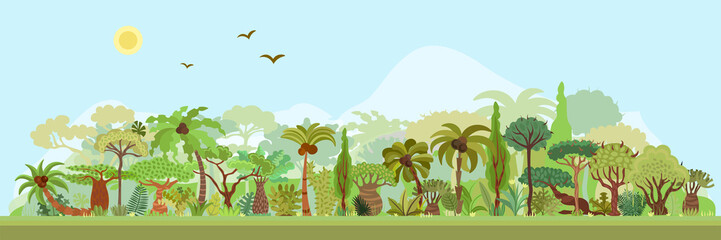 Vector tropical rainforest landscape with palms and other tropical trees. Tropical forest panoramic illustration. Flat vector design of tropical forest landscape in light green summer colors