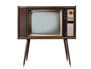 Retro old television standing isolated on white background.