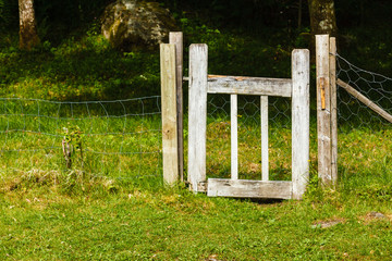 Metal fence made of thread with gate