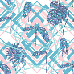 Tropical leaves on geometry shapes background.