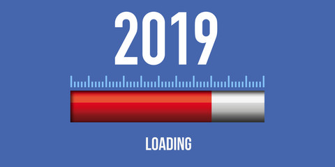 Carte de vœux 2019 avec le concept du téléchargement de la nouvelle année.