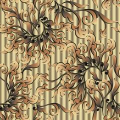 Gold Baroque vector seamless pattern. Textured golden 3d background. Abstract decorative victorian style ornament with scroll leaves, flowers, swirls. Surface texture for wallpapers, fabric, textile
