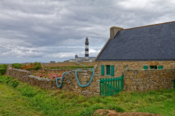House near le Creac'h lighthouse - Ouessant Island - Finistère, Brittany, France Wall mural
