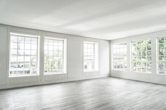 empty room with glass window
