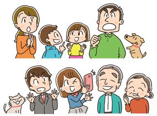 何かに注目する三世代家族のイラスト