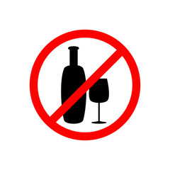 Prohibition sign.Not drink alcohol, crossed out bottle and glass icon
