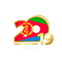 Year 2019 with Eritrea Flag pattern. Happy New Year Design.