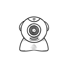 Web camera hand drawn outline doodle icon. Network cam and web video chat, internet communication concept. Vector sketch illustration for print, web, mobile and infographics on white background.
