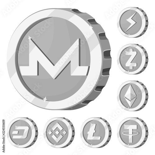 Vector Design Of Cryptocurrency And Coin Icon Collection Of