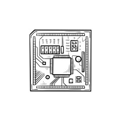 Circuit board hand drawn outline doodle icon. Computer chip and processor, high tech, hardware concept. Vector sketch illustration for print, web, mobile and infographics on white background.