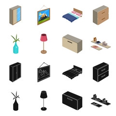Isolated object of bedroom and room sign. Collection of bedroom and furniture vector icon for stock.