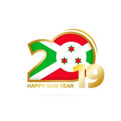 Year 2019 with Burundi Flag pattern. Happy New Year Design.