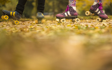 Detail of two pairs of young sexy girl legs with roller skates standing and posing on colored fall leaves as wallpaper. Close up Autumn background with blurry autumnal colors foreground for desktop.