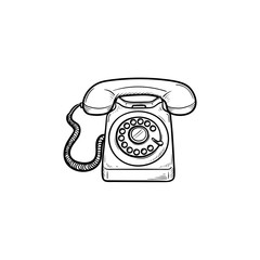 Vintage telephone hand drawn outline doodle icon. Old phone and communication, phone call, receiver concept. Vector sketch illustration for print, web, mobile and infographics on white background.