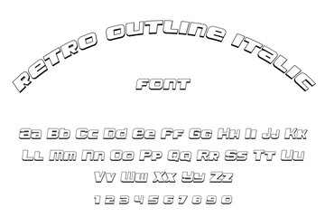 retro outlined italic font