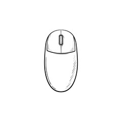 Computer mouse hand drawn outline doodle icon. Computer and internet technology, pc and pointing device concept. Vector sketch illustration for print, web, mobile and infographics on white background.