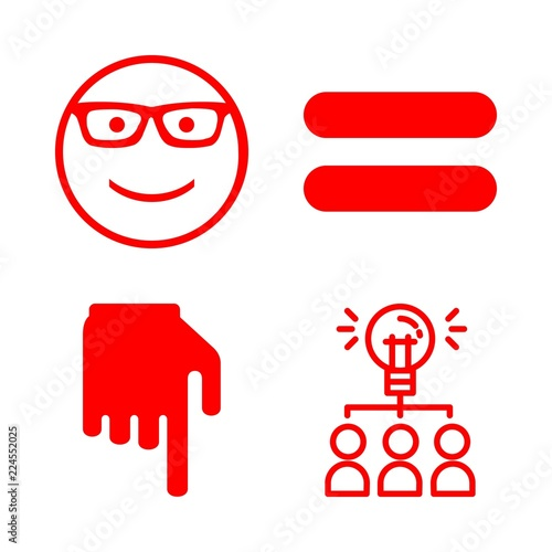 Women Icons Set With Black Hand With Finger Pointing Down Smiley