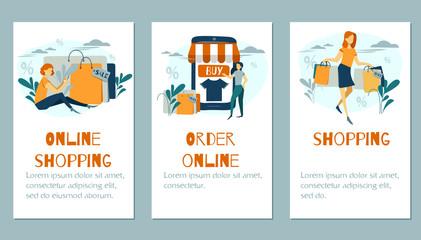 Online shopping banner concept, mobile app template, vector illustration flat design