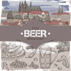 Beer travel destination template with color Prague old town sketch, beer mug, chips, nuts, chicken wings, snack plate.