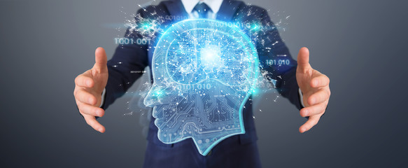 Businessman creating artificial intelligence 3D rendering