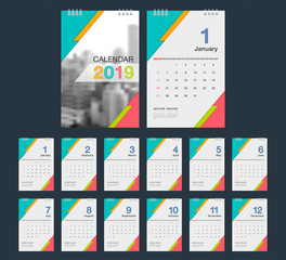 2019 Calendar. Desk Calendar modern design template with place for photo. Week starts Sunday. A5 or A4 paper size.