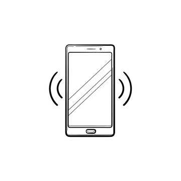 Smartphone vibrating hand drawn outline doodle icon
