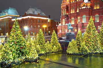 Christmas in Moscow. Manezhnaya square decorated for the new year.