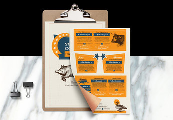 Restaurant Menu Layout with Western Illustrations