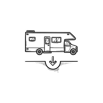 Camper hand drawn outline doodle icon. Tourism and recreation, vacation van and trailer, trip concept. Vector sketch illustration for print, web, mobile and infographics on white background.