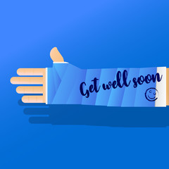 Get well soon broken arm cast vector illustration.