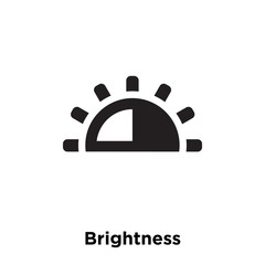 Brightness icon vector isolated on white background, logo concept of Brightness sign on transparent background, black filled symbol