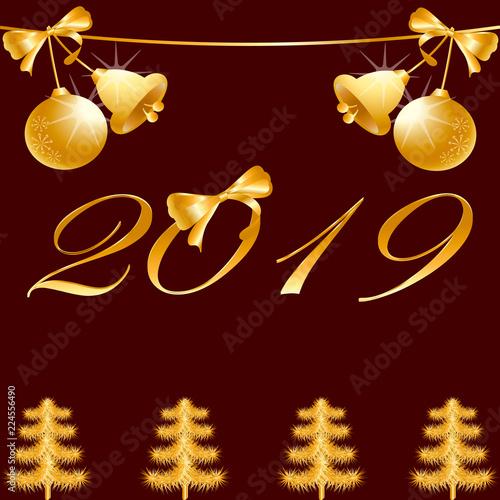 Imagenes De Navidad 2019.Fondo Navidad 2019 Ano Nuevo Marron Y Oro Gradient