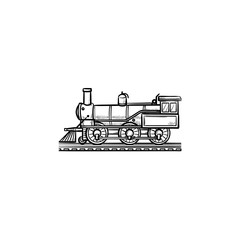 Vintage train hand drawn outline doodle icon. Railroad transport, steam locomotive, retro train concept. Vector sketch illustration for print, web, mobile and infographics on white background.