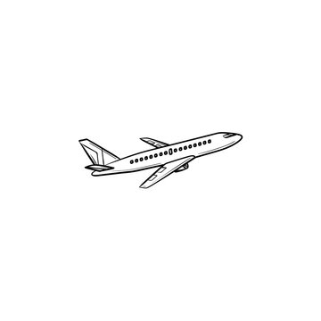 Flying plane hand drawn outline doodle icon. Airliner and aircraft, flight and transportation, airplane concept. Vector sketch illustration for print, web, mobile and infographics on white background.