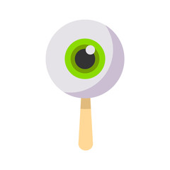Cartoon halloween food. Eye icecream halloween. Halloween candy. Vector stock.