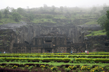 The wonder of Kailasa of Ellora caves, the rock-cut monolithic temple