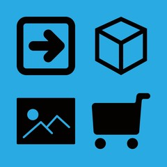 square icons set with picture, cube outline and shopping cart filled tool vector set